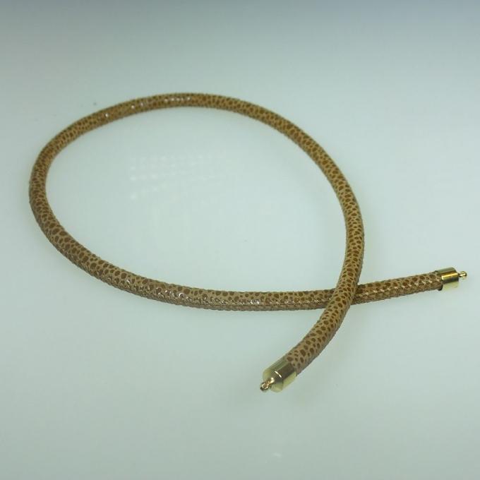 Bruin leren collier in roggen-look 44 cm