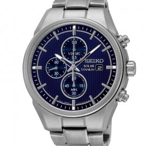 Seiko titanium chrono blauw